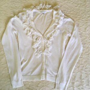 CABI White Cardigan Sweater w/ Crocheted Ruffle S